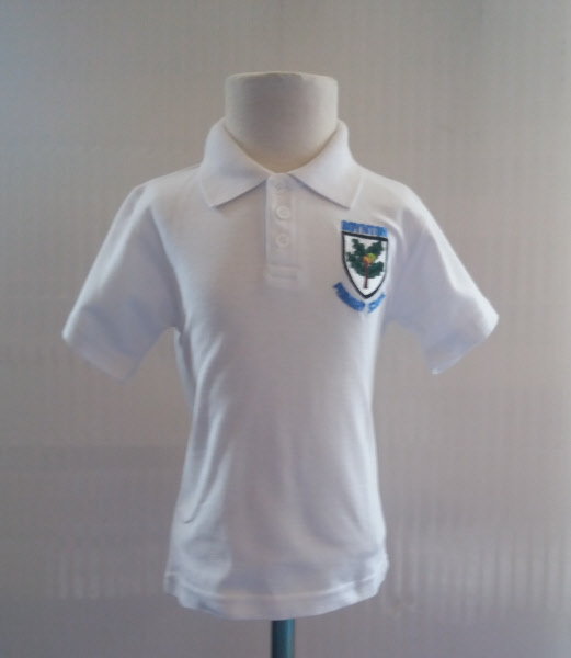 2c5e18d78 Boynton Primary School Uniform Uniform Unisex Polo Shirt White With Badge  (TF)