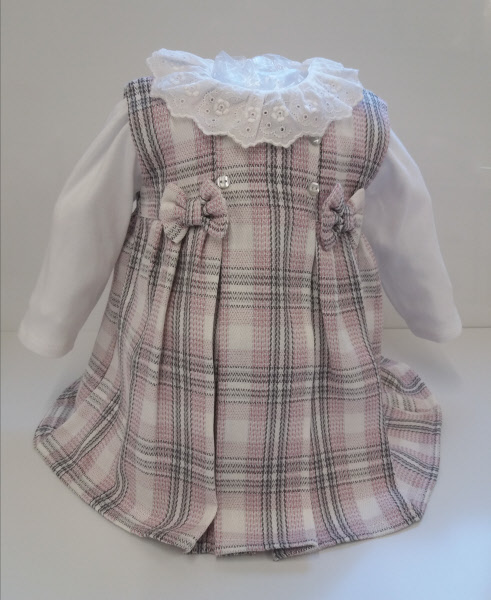 72603c97d01 Baby Girls Dresses Checked pinafore dress with Frilly Pants Little Nosh